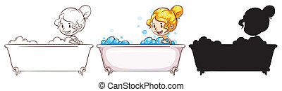 Sketches of a young lady at the bathtub