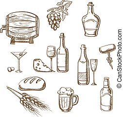 Sketches of alcohol, drinks and snacks