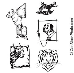 Sketches of animals - dogs and wild cats