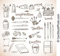Sketches of artist's and writer's tools hand drawn with ink