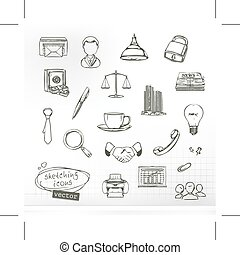 Sketches of business icons