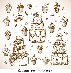 Sketches of cakes and cupcakes i