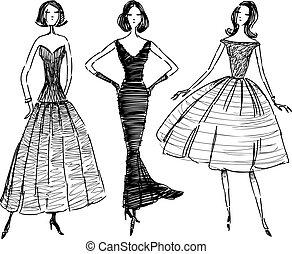Sketches of elegant women in evening dresses