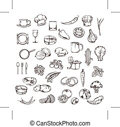 Sketches of food icons