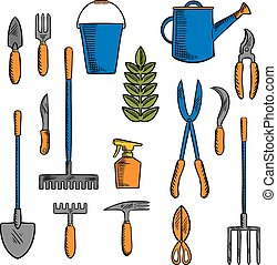 Sketches of hand tools for farming and gardening - Colorful...
