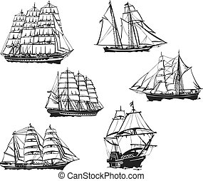 Black and white sketches of sailing ships. Set of vector illustrations.