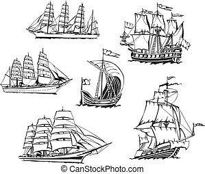 Sketches of sailing vessels - Black and white sketches of...