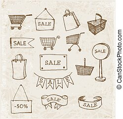 Sketches of shopping objects in vintage style