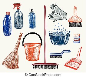 Sketches of the objects for cleaning