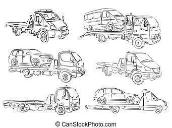 Sketches of tow trucks.