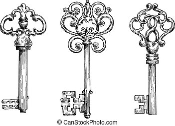 Sketches of vintage keys with forged elements - Elegant...