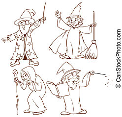 Sketches of wizards - Illustration of the sketches of...