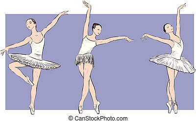 sketches of young dancing ballerinas