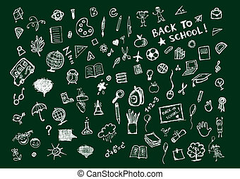 Sketches on blackboard, concept of school for your design