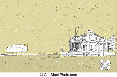 Sketching Historical Architecture in Italy: Villa Rotunda, Vicenza. Illustration is in eps8 vector mode!
