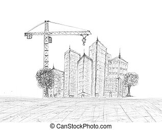 sketching of building construction