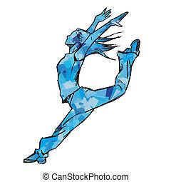 Sketching of female dancer (blue)