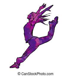 Sketching of female dancer (purple)