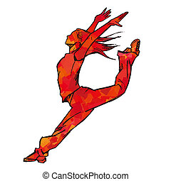 Sketching of female dancer (red)