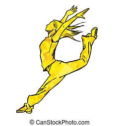 Sketching of female dancer (yellow)
