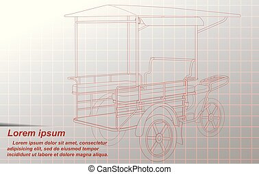 freight tricycles - Sketching of Thai freight tricycles.