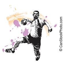 sketching of the handball player