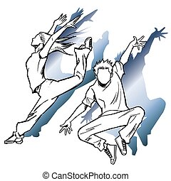 Sketching of the jazz dancer
