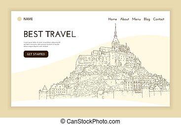 sketching., página, template., turismo, presentation.,...