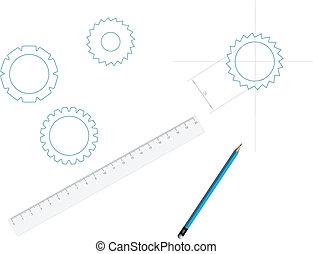 Sketch of detail and designer instruments