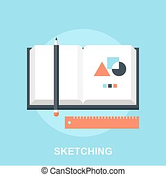 Sketching - Vector illustration of sketching flat design...