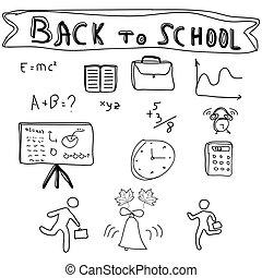 sketchy, école, doodles, dos, fournitures
