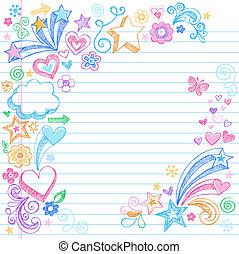 sketchy, école, dos, doodles