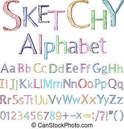 sketchy, アルファベット