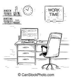 sketchy, イラスト, の, オフィスの内部, room.vector, グラフィック, 白 の イメージ