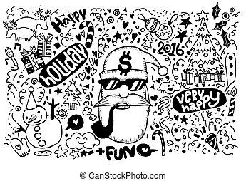 sketchy, ノート, クリスマス, hand-drawn, doodles-