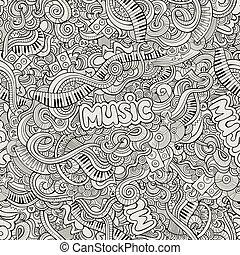 sketchy, abbildung, hand-drawn, vektor, musik, doodles.