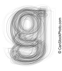 "Sketchy alphabet lowercase letter ""g"""