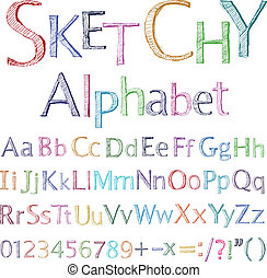 Sketchy alphabet - Vector sketchy alphabet