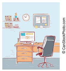 sketchy, barva, room., ilustrace, úřadovna vnitřek
