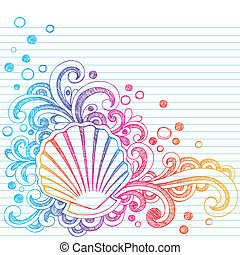 Hand-Drawn Oyster Shell and Bubbles Summer Vacation Beach Sketchy Notebook Doodles Vector Illustration on Lined Sketchbook Paper Background