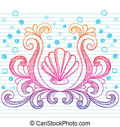 Sketchy Beach Shell Doodle Vector - Hand-Drawn Shells and...
