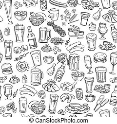 sketchy beer and snacks, seamless background - sketchy beer...