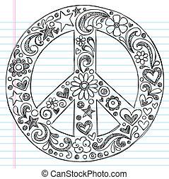 sketchy, cahier, doodles, signe paix