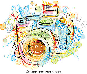 Sketchy Cam - This sketchy Camera Vector Image was digital...