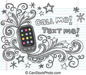 sketchy, cellule, griffonnage, smartphone