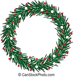 Sketchy Christmas wreath - A sketchy Christmas wreath with...