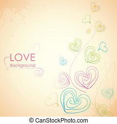 sketchy, coração, apaixonadas, fundo