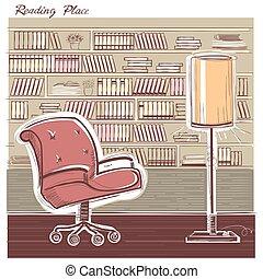 sketchy, couleur, room., intérieur, illustration, lecture, vecteur, main, dessiner