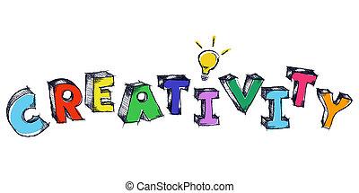 sketchy, creativiteit, kleurrijke, bol, licht, woord