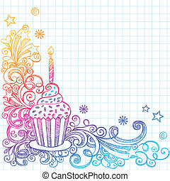 Hand-Drawn Sketchy Ornate Cupcake Doodle Page Border- Notebook Doodles on Grid (Graph) Paper Background- Vector Illustration
